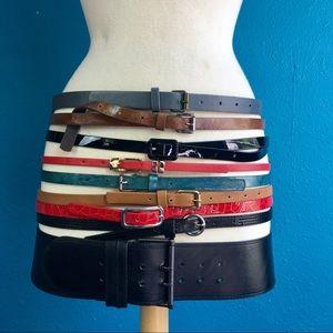 Lot of 9 belts, 8 skinny & 1 wide-  L